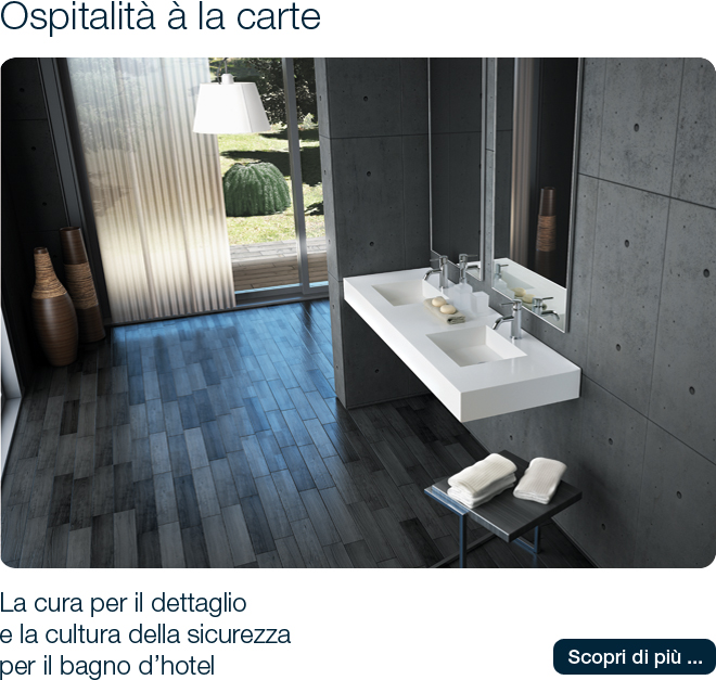 Ponte Giulio arreda il bagno dell'hotel