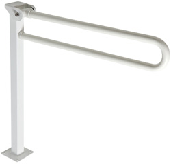 Safety folding grab rail on floor mounted pedestal