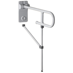 Safety folding grab bar with floor and wall support legs