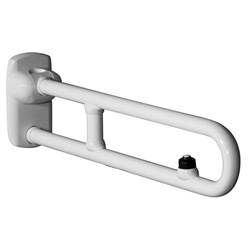 Safety folding grab bar with electric button and reinforced with a joint