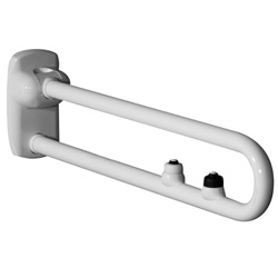 Safety folding grab rails with two electric buttons