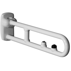 Safety folding grab bar with two electric buttons for flush control, emergency call, and reinforced joint