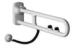 Safety folding side swivel grab bars with with two electric buttons for flush control and emergency call - G27JCS38