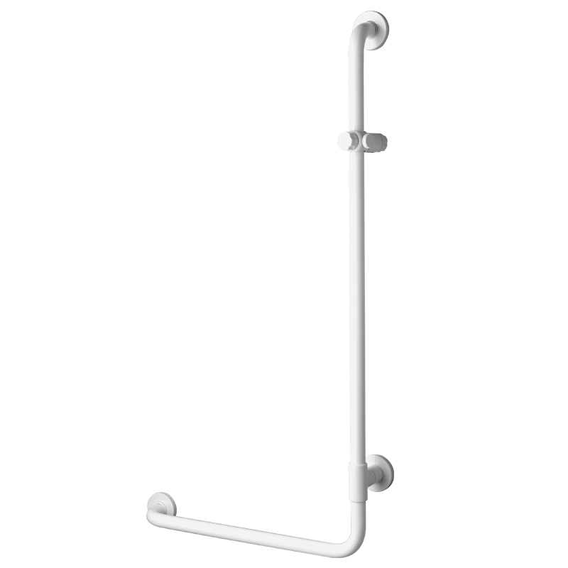 Safety grab bar, corner, 90°, with shower head holder