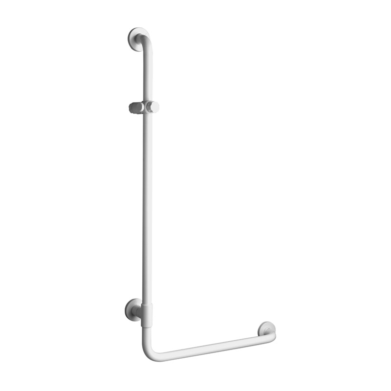 Safety shower gra bar 90° corner, equipped with adjustable hand shower holder