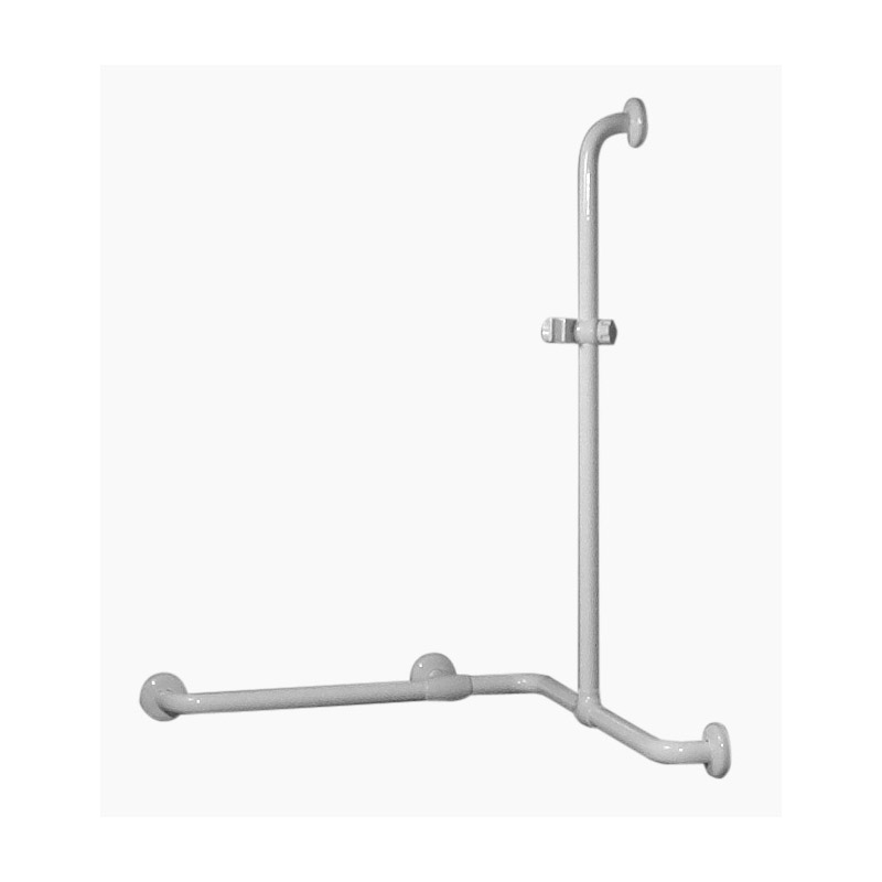 Safety handrail for corner installation with vertical arm, equipped with adjustable hand shower holder
