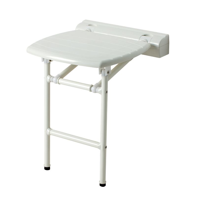 Folding shower seat with support legs