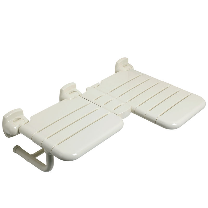 L-shaped double folding shower seat