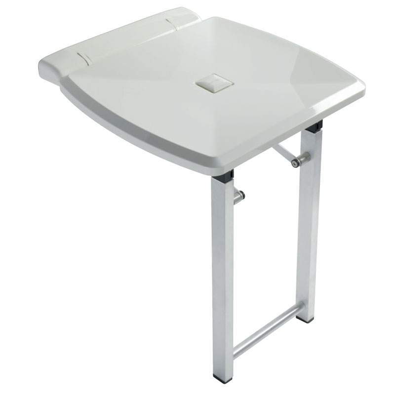 Fold down shower seat with extra support folding legs