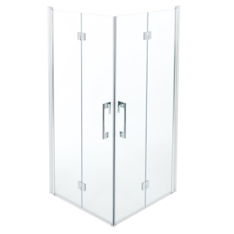 Accordion doors shower enclosure, 90x90 cm.