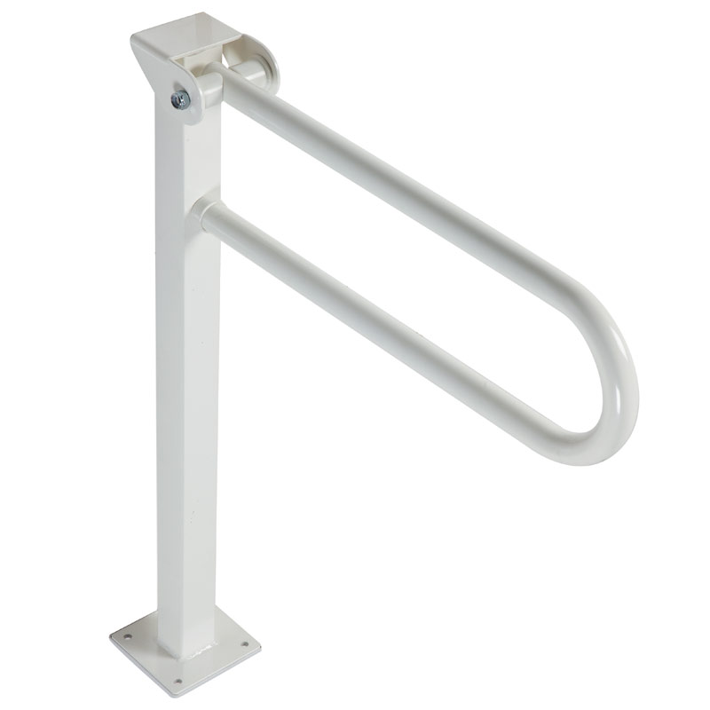 Safety grab bar, folding, on floor pedestal
