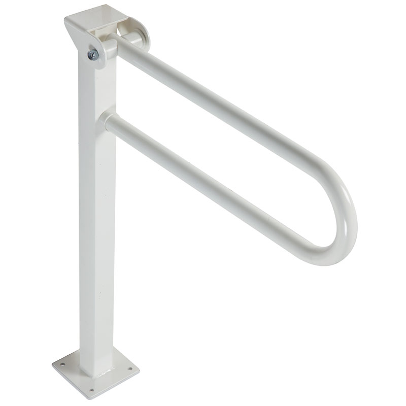 Safety folding grab bar on floor mounted pedestal