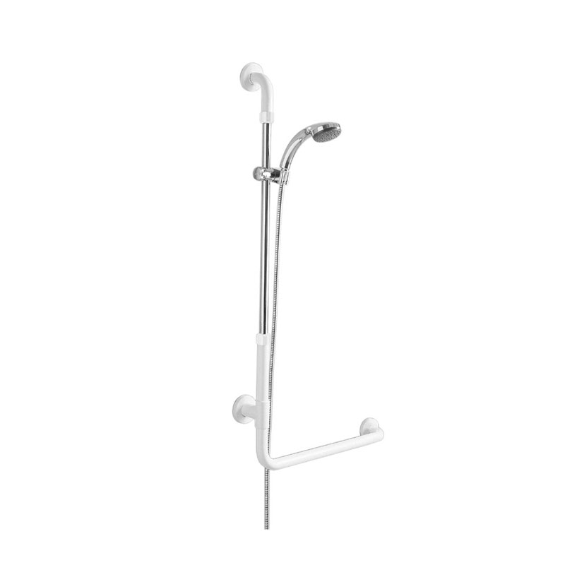 Disegno Sostegno di sicurezza ad angolo 90°, con porta doccetta, doccetta e flessibile G01JOR02