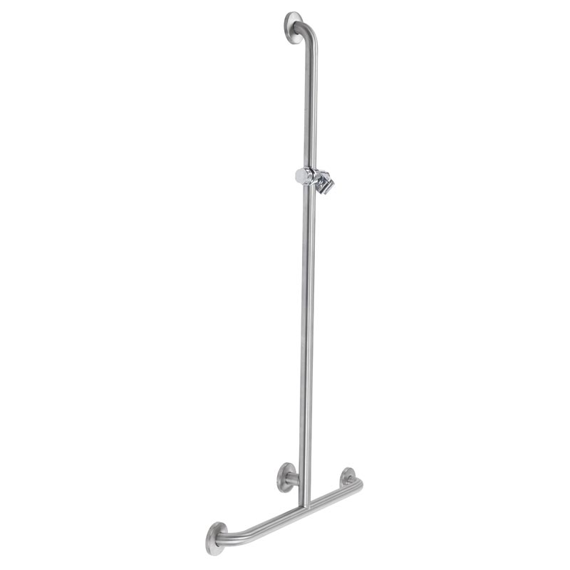 T-shaped safety handrail, equipped with adjustable hand shower holder