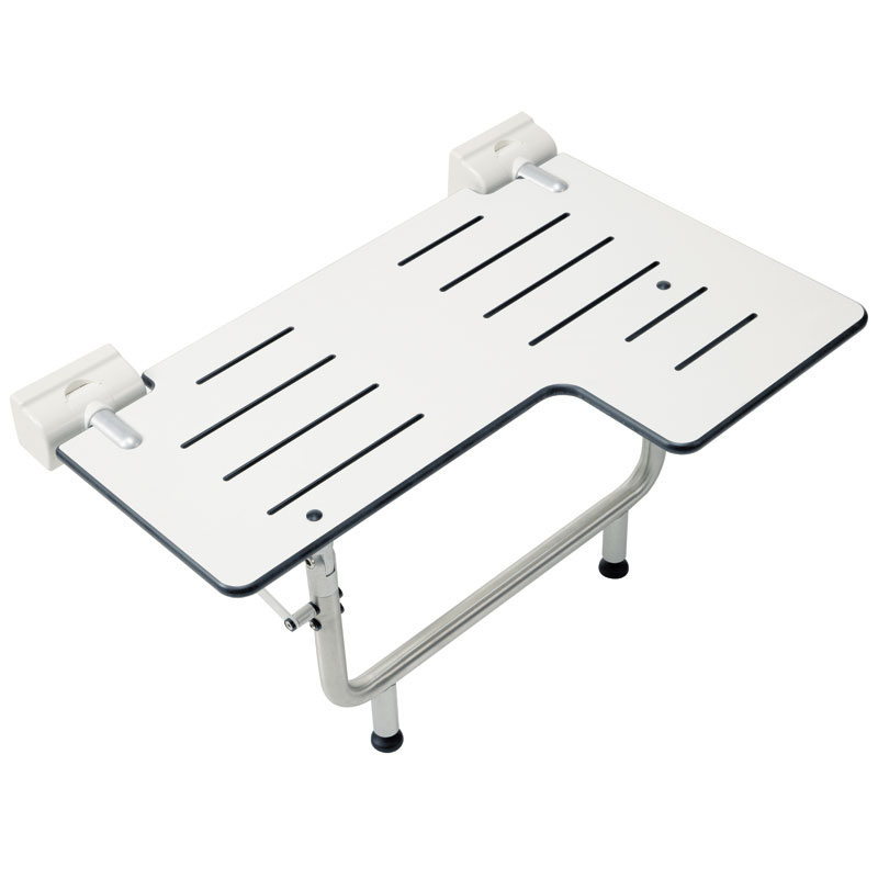 Reversable L-shaped double folding shower seat