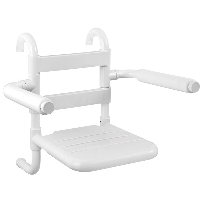 Sedile rimovibile con seduta e schienale a doghe, munito di braccioli ribaltabili completi di poggia braccia morbidi