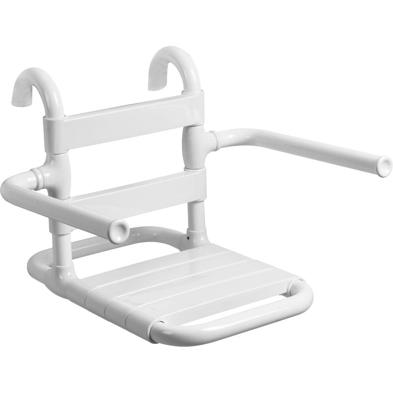 Sedile rimovibile con seduta e schienale a doghe, munito di braccioli ribaltabili