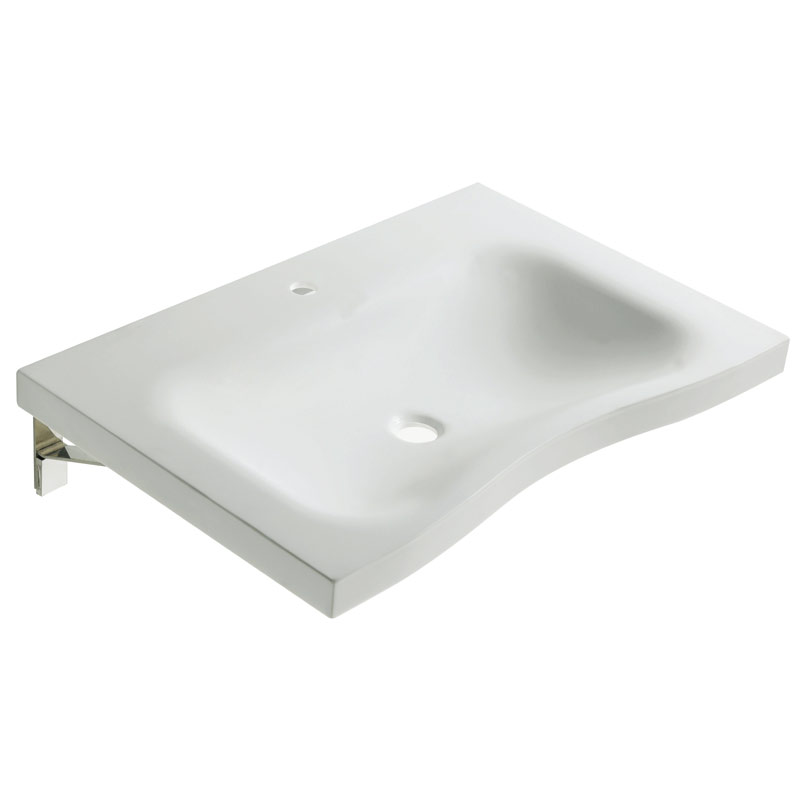 Designer basin with integral hand pull