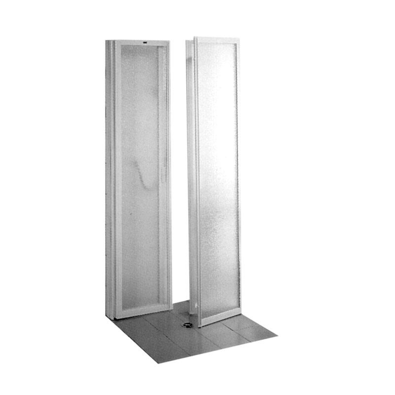 """Box doccia ad """"U"""" realizzato con profili in alluminio, pannelli in poliestere"""