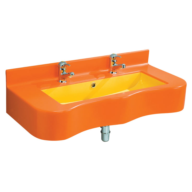 Draw Acrylic stone rectangular console with shaped front side and basin in a contrasting colour B44CNM01