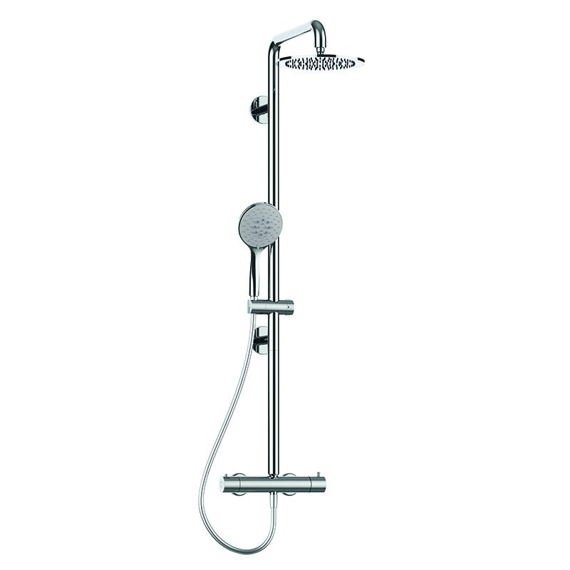 Disegno Colonna doccia sicura con corpo in acciaio inox, con  soffione abs cromo Ø250 mm, completa di miscelatore termostatico esterno. H51GLS02