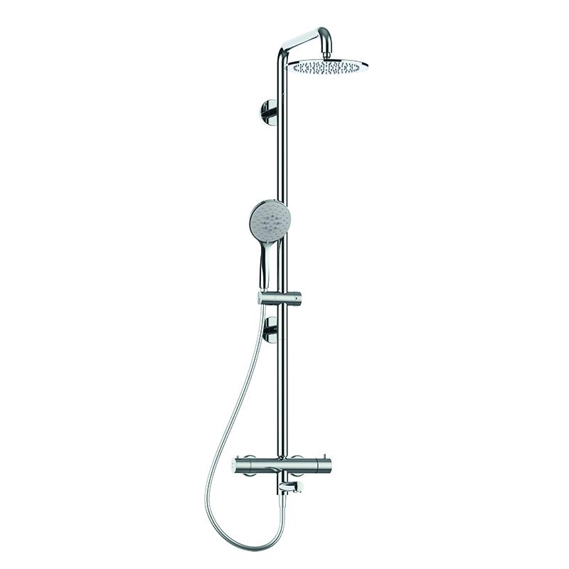 Colonna doccia sicura con corpo in acciaio inox per vasca con soffione in acciaio inox Ø240 mm. completa di miscelatore termostatico esterno con bocca girevole per vasca.