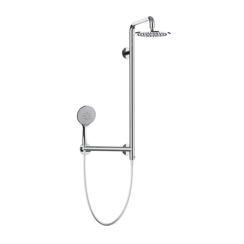 Colonna doccia sicura con corpo in acciaio inox con soffione in acciaio inox Ø240 mm con maniglia di sicurezza