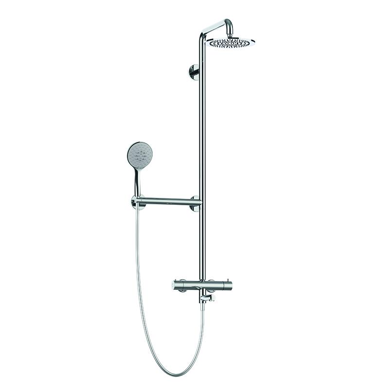 Colonna doccia sicura con corpo in acciaio inox per vasca con soffione in acciaio inox Ø240 mm completa di miscelatore termostatico esterno con bocca girevole per vasca e maniglia di sicurezza.