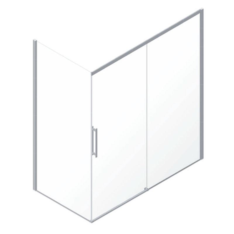 Box doccia per angolo con un pannello fisso e uno ad apertura a scorrimento, 80x120 cm.