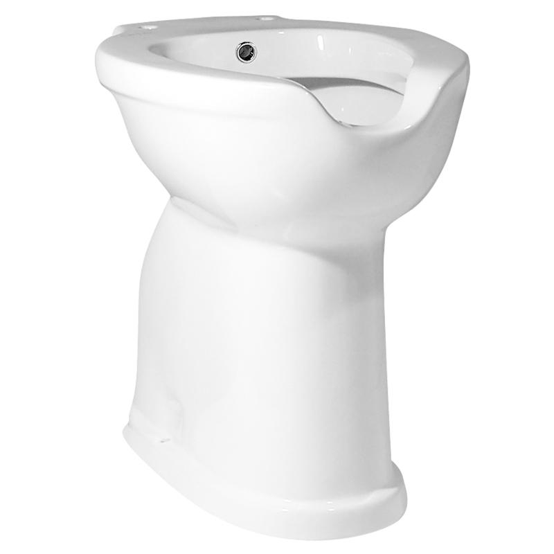 Vaso WC - bidet, con apertura frontale, scarico a pavimento e a parete