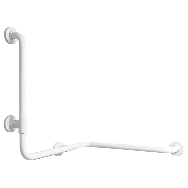 Corner grab bar with vertical support