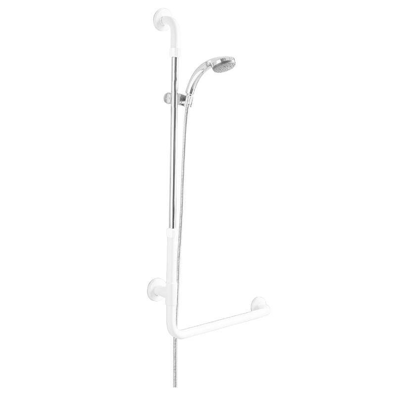 Sostegno di sicurezza ad angolo 90°, con porta doccetta, doccetta e tubo flessibile