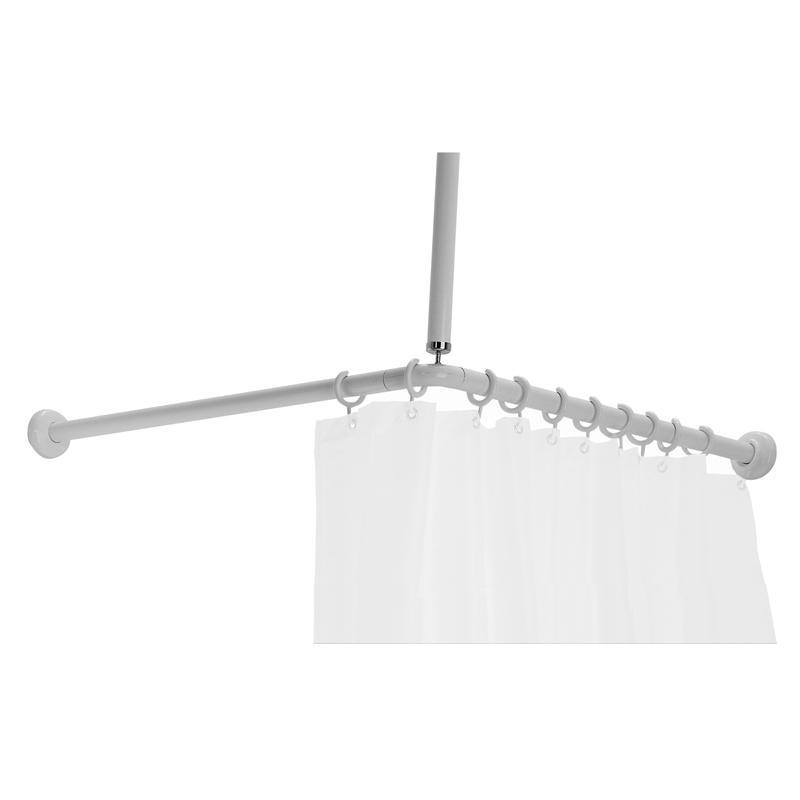 Shower curtain rail, L-shaped, 18 rings - G01JRS12