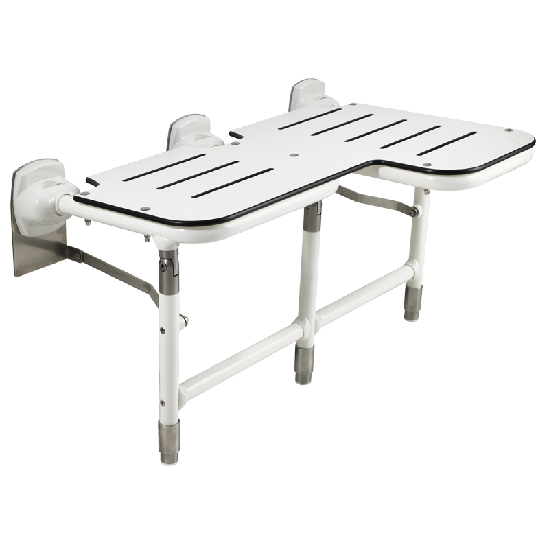 L-shaped double folding bariatric shower seat with legs