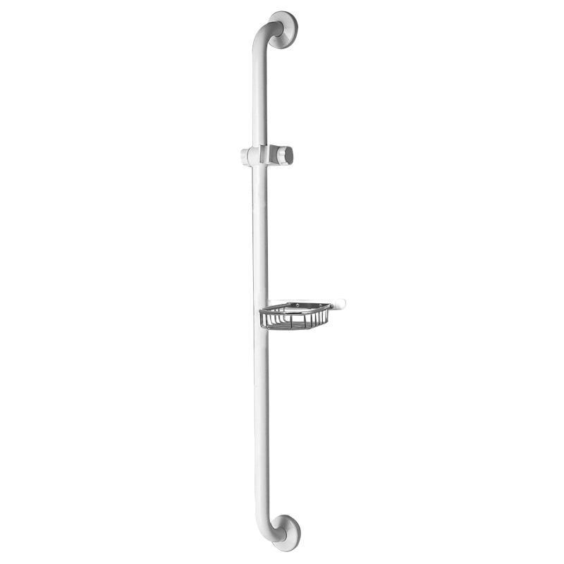 Maniglione di sicurezza verticale con attacco porta doccetta e griglia porta spugna-sapone