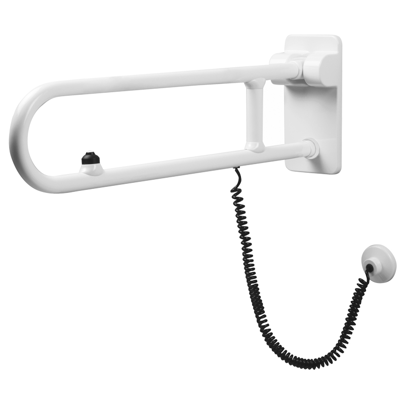 Safety folding grab bar with electric button