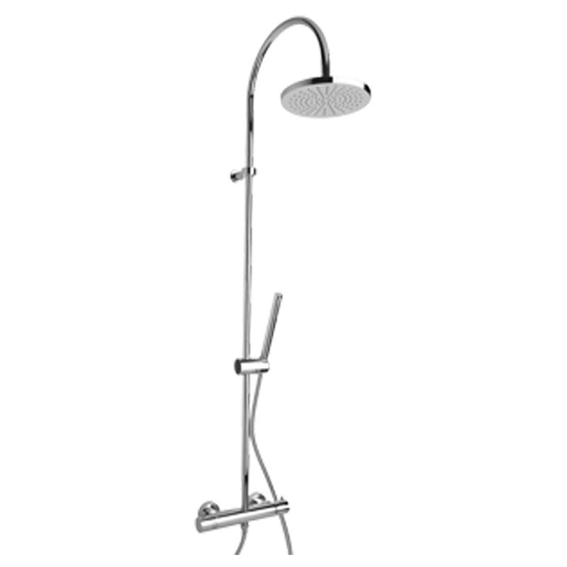 Disegno Miscelatore termostatico doccia esterno con pulsante di sicurezza 38° munito di colonna doccia e doccetta H50GLS01