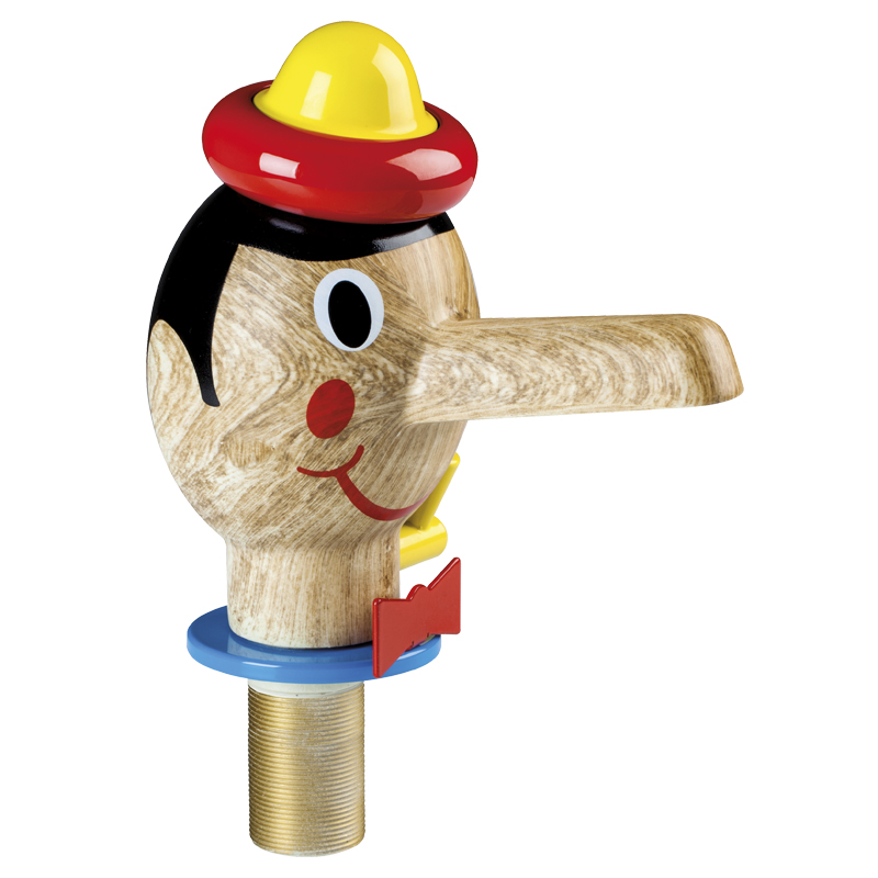 Pinocchio shape head shaped tap, button operated