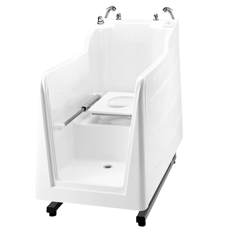 Cabina doccia ispezionabile con wc e con quadro di comando incorporato