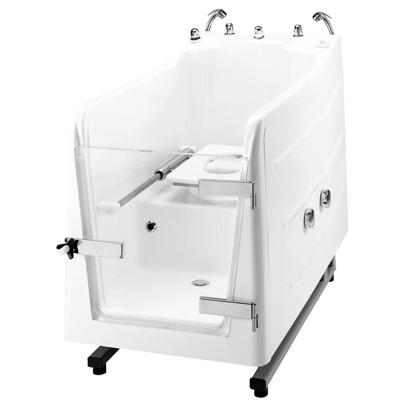 Vasca doccia a chiusura stagna munita di quadro di comando incorporato, integrata da vaso WC
