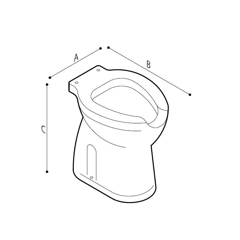 Disegno Vaso sanitario con apertura frontale, a pavimento. scarico a parete o a pavimento Disegno Tecnico B40CBO10
