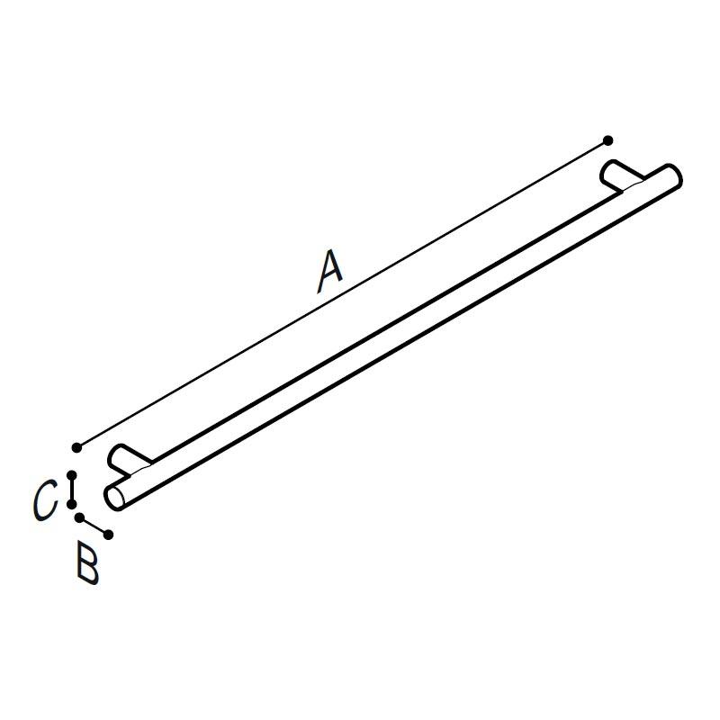 Disegno Maniglia di sicurezza, 130,6 cm. Disegno Tecnico G18UAS39