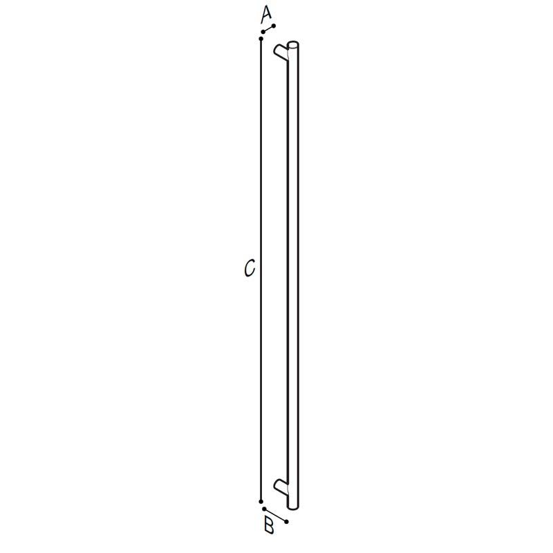 Disegno Maniglia di sicurezza verticale, 175 cm. Disegno Tecnico G18UAS41