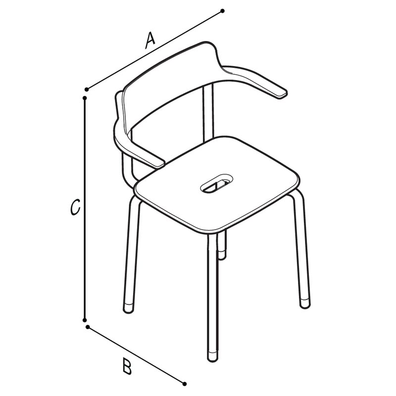 Disegno Seggiola con schienale munito di braccioli Disegno Tecnico G12JDS04