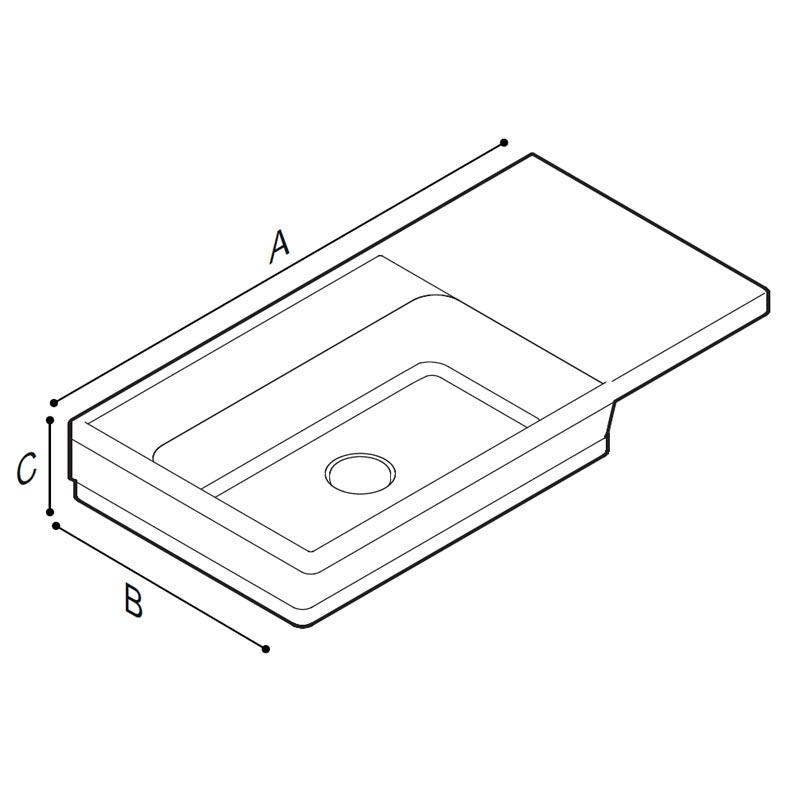 Disegno Console con catino su lato sinistro Disegno Tecnico B48CNL01