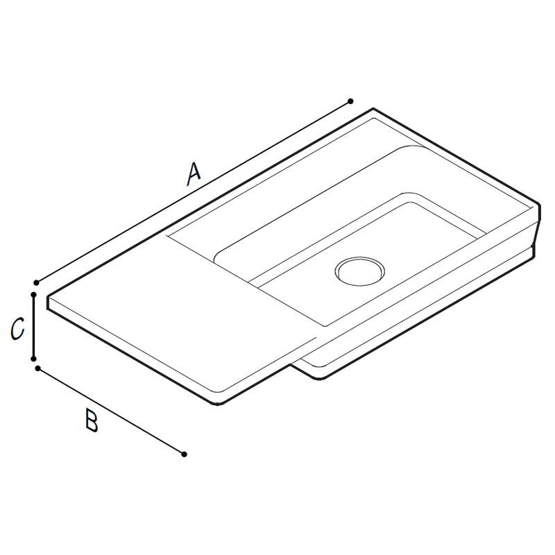 Disegno Console con catino su lato destro Disegno Tecnico B48CNR01