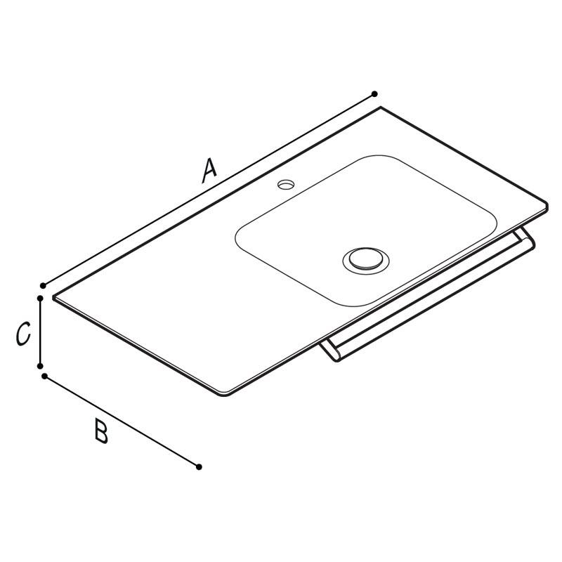 Disegno Console con catino su lato destro, munito di braccio porta telo. Disegno Tecnico B46CMR22