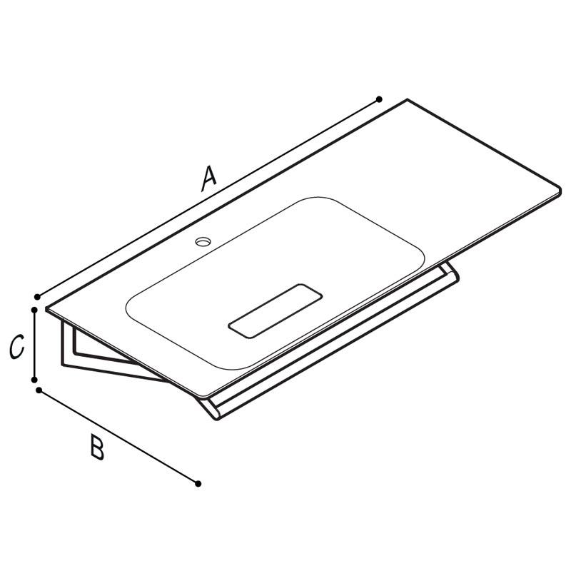 Disegno Console con catino su lato sinistro, munito di braccio porta telo. Disegno Tecnico B46CML23
