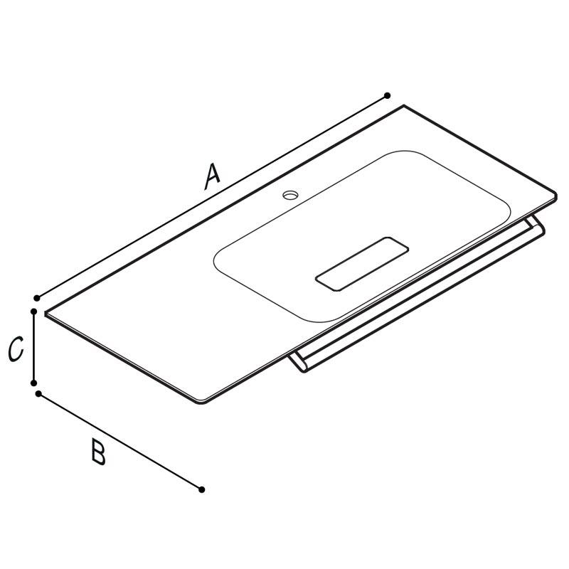 Disegno Console con catino su lato destro, munito di braccio porta telo. Disegno Tecnico B46CMR23