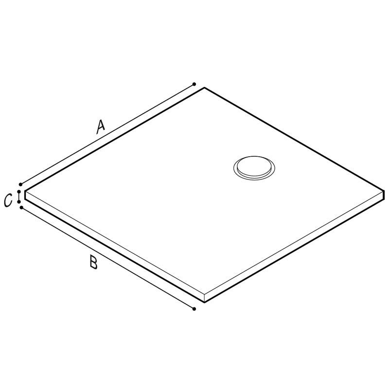 Disegno Piatto doccia quadrato, con superficie punteggiata a rilievo Disegno Tecnico B48CPM02